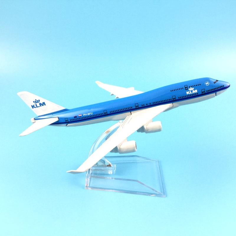 Airplane Model 16cm KLM Royal Dutch Boeing 747 Plane Model Aircraft Model 1:400 Diecast Metal Airplanes Plane Toy Gift