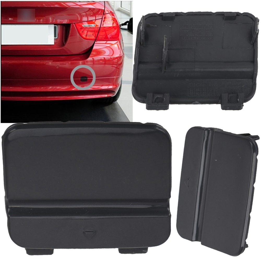Black Tow Hook Cover Eye <font><b>Cap</b></font> Insert Rear Bumper For <font><b>BMW</b></font> Series 3 <font><b>E90</b></font> E91 image