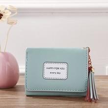 Korean Short Women's Wallet Tassel Pendant Tri-Fold Wallet Wallet Card Coin Purse women wallet dc comics wonder woman double buckle tri fold flap wallet dft 6502