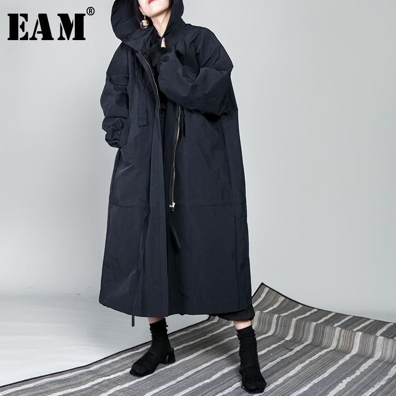 [EAM] 2019 New Spring Drawstring Full Sleeve Hooded Collar Loose Zipper Thin Big Size Long   Coat   Women Jacket Fashion Tide OB113