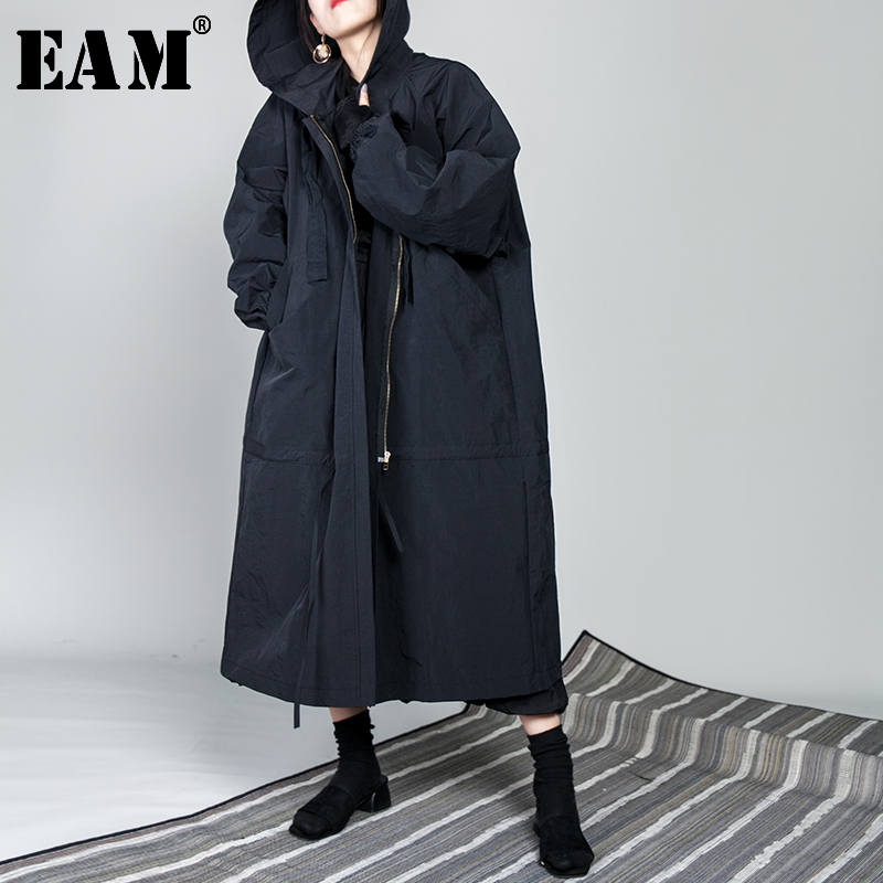 [EAM] 2020 New Spring Drawstring Full Sleeve Hooded Collar Loose Zipper Thin Big Size Long Coat Women Jacket Fashion Tide OB113