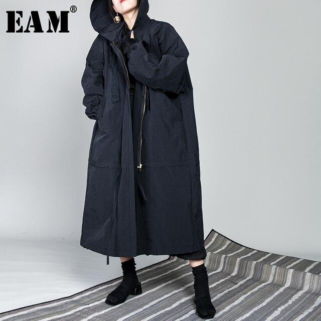 [[EAM] 2020 Mùa Xuân Mới Dây Rút Full Tay Có Cổ Áo Rời Dây Kéo Mỏng Size Lớn Dài Phối Áo Khoác Nữ thời Trang Triều OB113