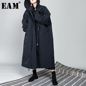 Image 1 - [EAM] 2020 New Spring Drawstring Full Sleeve Hooded Collar Loose Zipper Thin Big Size Long Coat Women Jacket Fashion Tide OB113