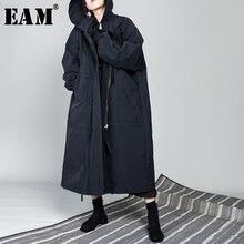 Женское длинное пальто на молнии [EAM], черное тонкое Свободное пальто большого размера с длинным рукавом и воротником с капюшоном OB113, новинка весны 2020
