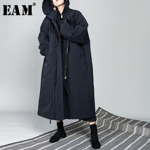 Image 1 - [Eem] 2020 yeni bahar İpli tam kollu kapşonlu yaka gevşek fermuar ince büyük boy uzun ceket kadın ceket moda gelgit OB113