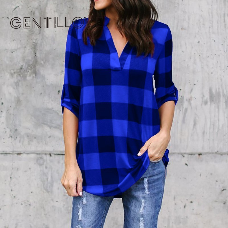 Gentillove Plus Size Plaid Shirts 2019 Women Long Sleeve Blouse Tunics Female Office Work Wear Clothes Femme Oversized 5XL