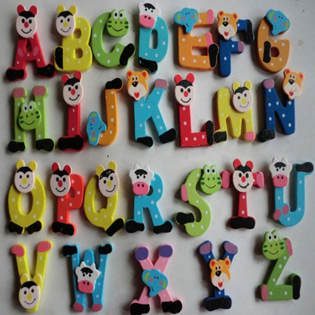 26pcs/set Wooden Cartoon Alphabet ABC~XYZ Magnets Child Educational Toy Gift Magnetic Sticker