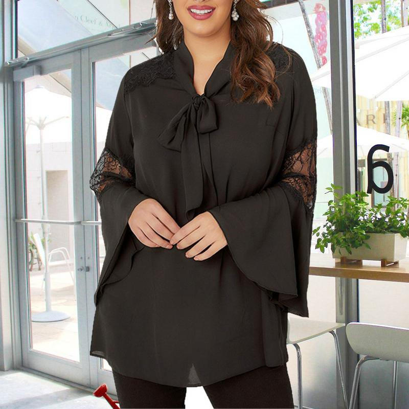 Autumn European and American Style Fashionable Flare Sleeve Large Size   Blouse     Shirts   For Women