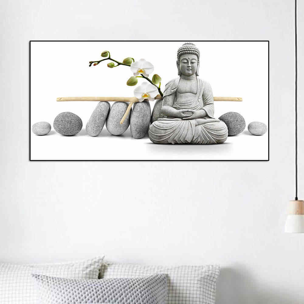 Orchid Buddha Oil Painting By Numbers Wall Art Acrylic Canvas Painting Home Decoration  For  Living Room Without Frame
