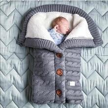 Baby Sleeping Bag Envelope Winter Kids Blanket Footmuff For Stroller Knitted Sleep Sack Newborn Swaddle Crochet Wool Slaapzak