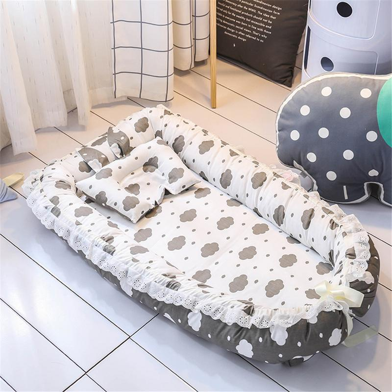 Baby Nest Cartoon Printing Bionic Bed Detachable Washable Portable Baby Bed Multi Functional Travel Crib Newborn Mattress