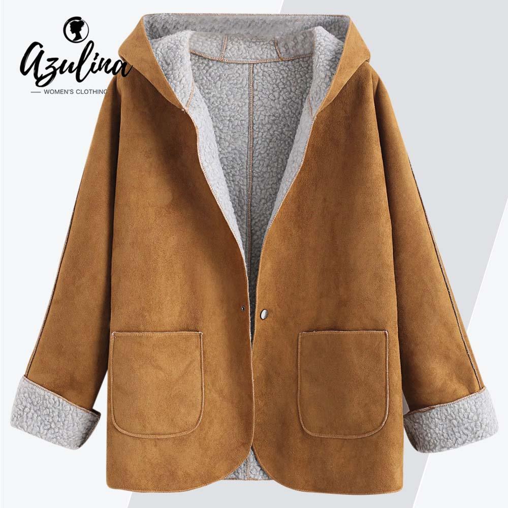 AZULINA Coat Femlae Winter Warm Overcoat   Suede   Faux   Leather   Jackets Women Clothing Ladies Cuffed Sleeves Hooded Sheepskin Coats