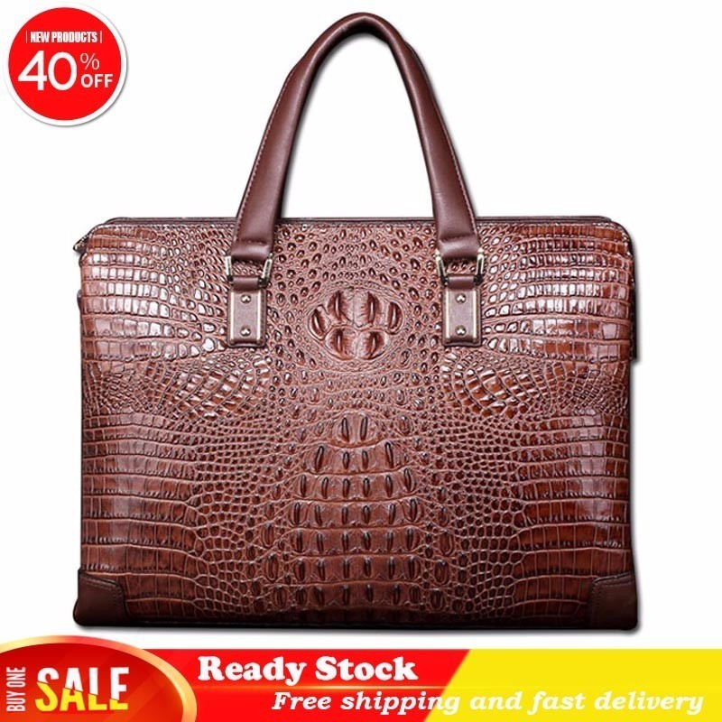 Best New high quality crocodile pattern male briefcase 100% leather business casual men bag shoulder bag Messenger Free shippingBest New high quality crocodile pattern male briefcase 100% leather business casual men bag shoulder bag Messenger Free shipping