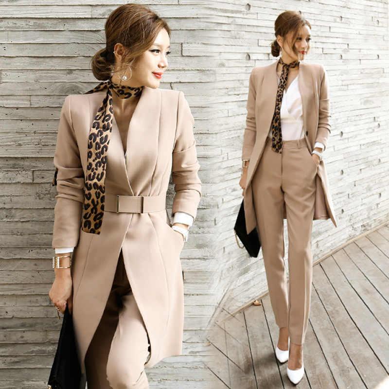 Donne della molla Elegante Due Pezzi Abiti Office Lady Blazer Con Cintura Mutanda Lunga Sciarpa Del Leopardo Set Giacca Sportiva Sottile Si Adatta Khaki nero