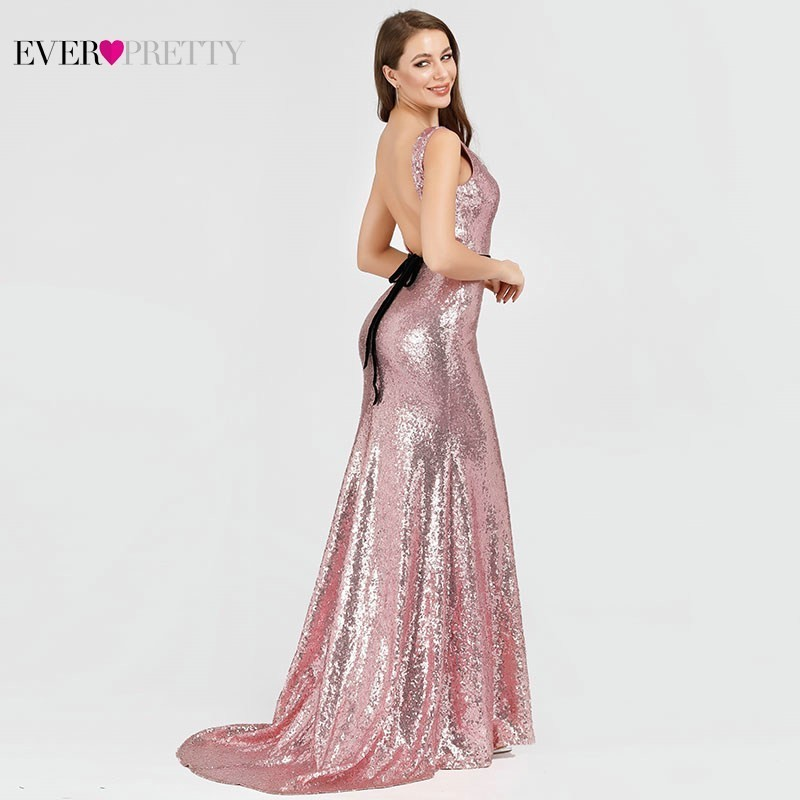 Sexy Sparkle Evening Dresses Pink Ever Pretty EP07932OD Backless Sashes Mermaid Sequined Formal Dresses High Split Party Gowns