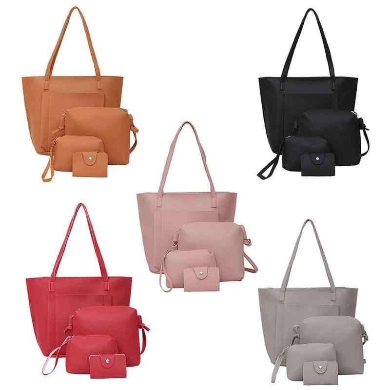 2019 4 pçs/set Senhoras Sacos de Compras Bolsa de Moda Feminina bolsa de Ombro Bolsas Femininas Crossbody Sacos de Alta Capacidade Bolsa Feminina