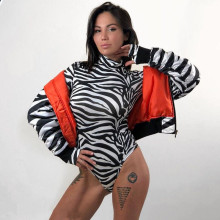 Women Long Sleeves Bodysuit Zebra-stripe Sexy Slim Short Bodycon New High Neck Stretch Ladies Leotard Body Tops T-shirt Jumpsuit(China)