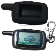 Chaveiro de controle remoto lcd a9, 2 vias, silicone para sistema de alarme automotivo, duas vias chaveiro a9