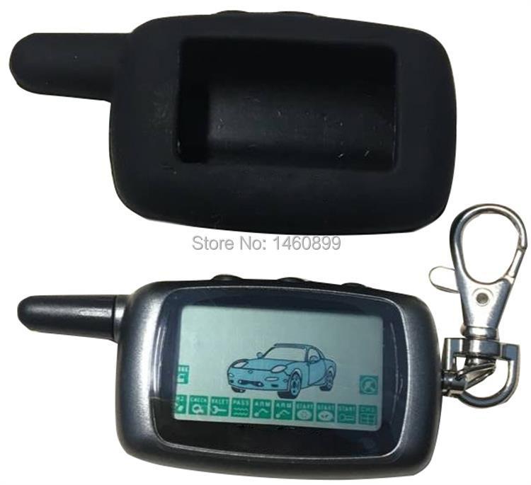 A9 2 voies LCD télécommande porte-clés + A9 coque en silicone pour système d'alarme de voiture bidirectionnelle Twage Starline A9 porte-clés Fob