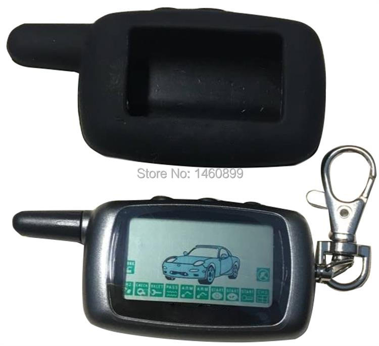 A9 2-way LCD รีโมทคอนโทรลพวงกุญแจ + A9 ซิลิโคนสำหรับ Two Way Car Alarm System Twage Starline a9 Key chain Fob