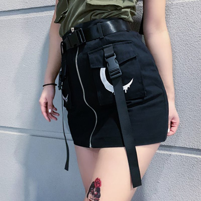 Women Skirt Mini Summer 2019 Harajuku Trendy Gothic Moon Print Zipper Streetwear Black Punk Casual A Line High Waist Skirts Girl