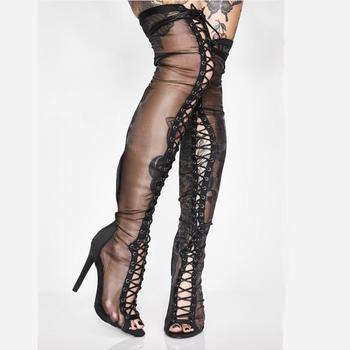 Sexy Summer Fine Mesh Over the knee Boots Women  Peep toe Front Lace up Thigh Boots High Heels Ladies Shoes