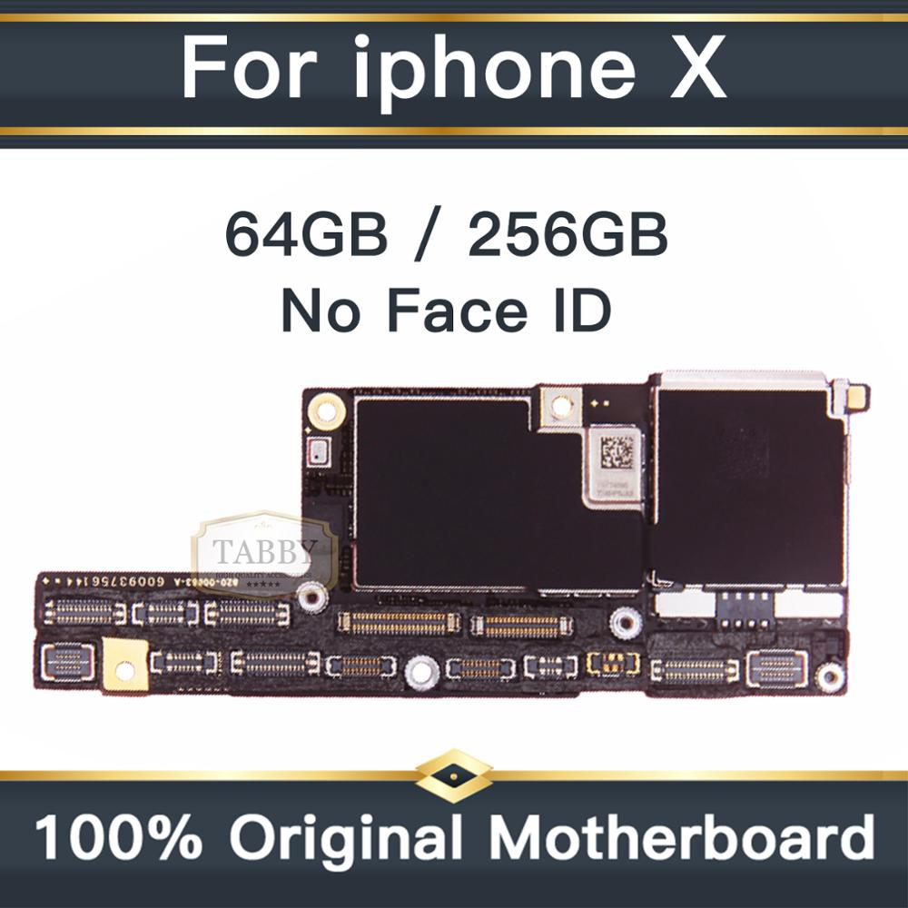 High Quality <font><b>Motherboard</b></font> For <font><b>iPhone</b></font> <font><b>X</b></font> Without <font><b>Face</b></font> <font><b>ID</b></font> 100% <font><b>Unlock</b></font> Original Mainboard Full Chips IOS System Logic Board image