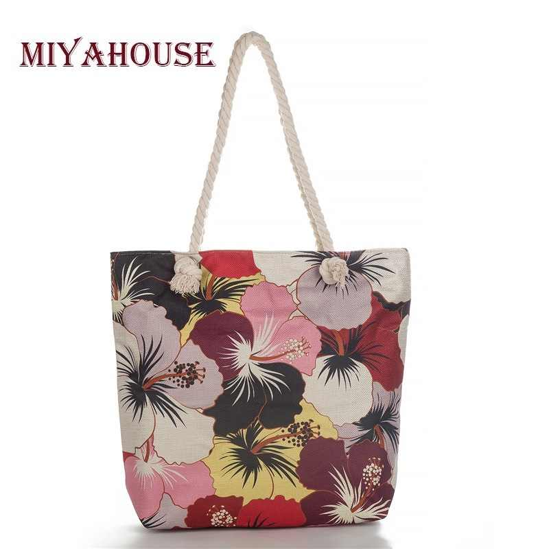 Miyahouse Flower Printing Women Handbag Summer Casual Wild Canvas  Girls Beach Bag Large Capacity Daily Shopping Bag Female