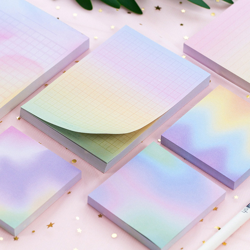 Gradient Rainbow Memo Pads Laser Self Adhesive Paper Sticky Notes Kawaii Writing Notepads For Office School Supplies Stationery