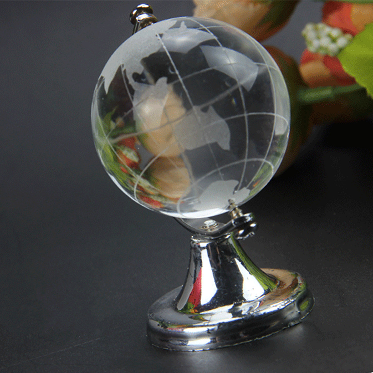 4/5cm Clear Transparent Glass Frosted World Globe Crystal Ball Ornament Paperweight Home Decor Tellurion Desk Decoration