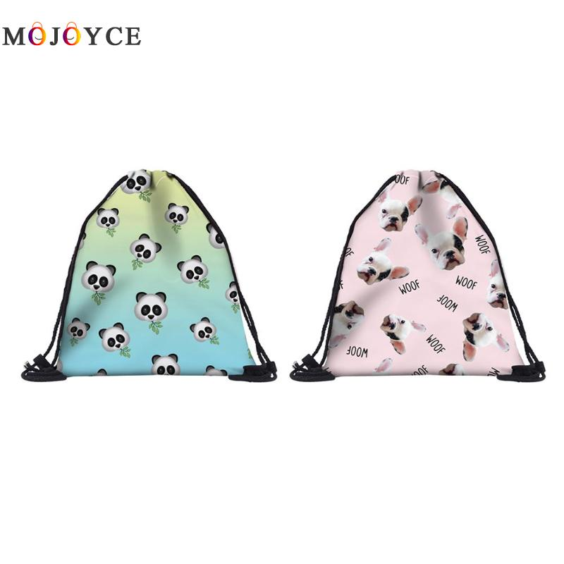 Portable Cute Printing Backpack Drawstring Bag Travel Beach Bags Storage Clothes Shoes Pouch