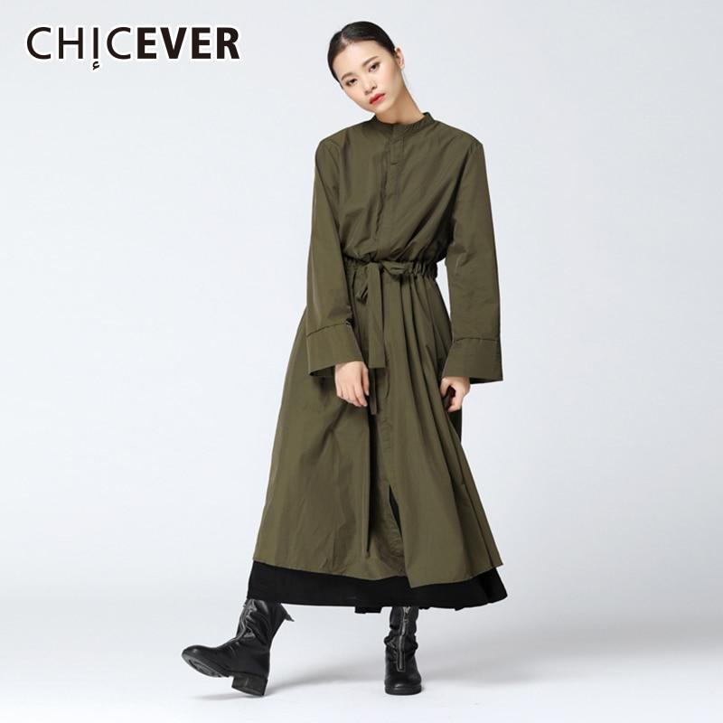 Kadın Giyim'ten Siper'de CHICEVER Sonbahar kadın Ceket Yüksek Bel Dantel Up Mandarin Yaka Uzun Kollu Gevşek Boy Kadın Mont 2019 Moda Gelgit yeni'da  Grup 1
