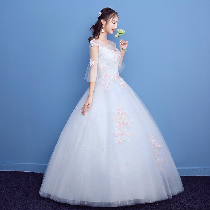 LASONCE Illusion O Neck Ball Gown Pink Lace Appliques Wedding Dresses Three Quarter Flare Sleeve Backless Bridal Gowns in Wedding Dresses from Weddings Events