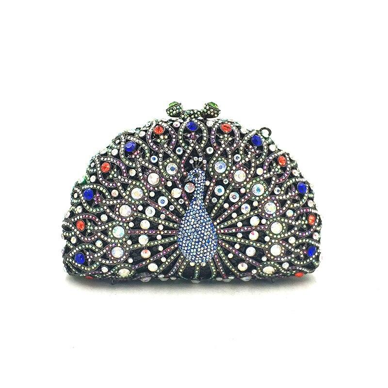 Women evening party bag diamonds luxury crystal clutch bridal wedding party purse handbag animal peacock crystal