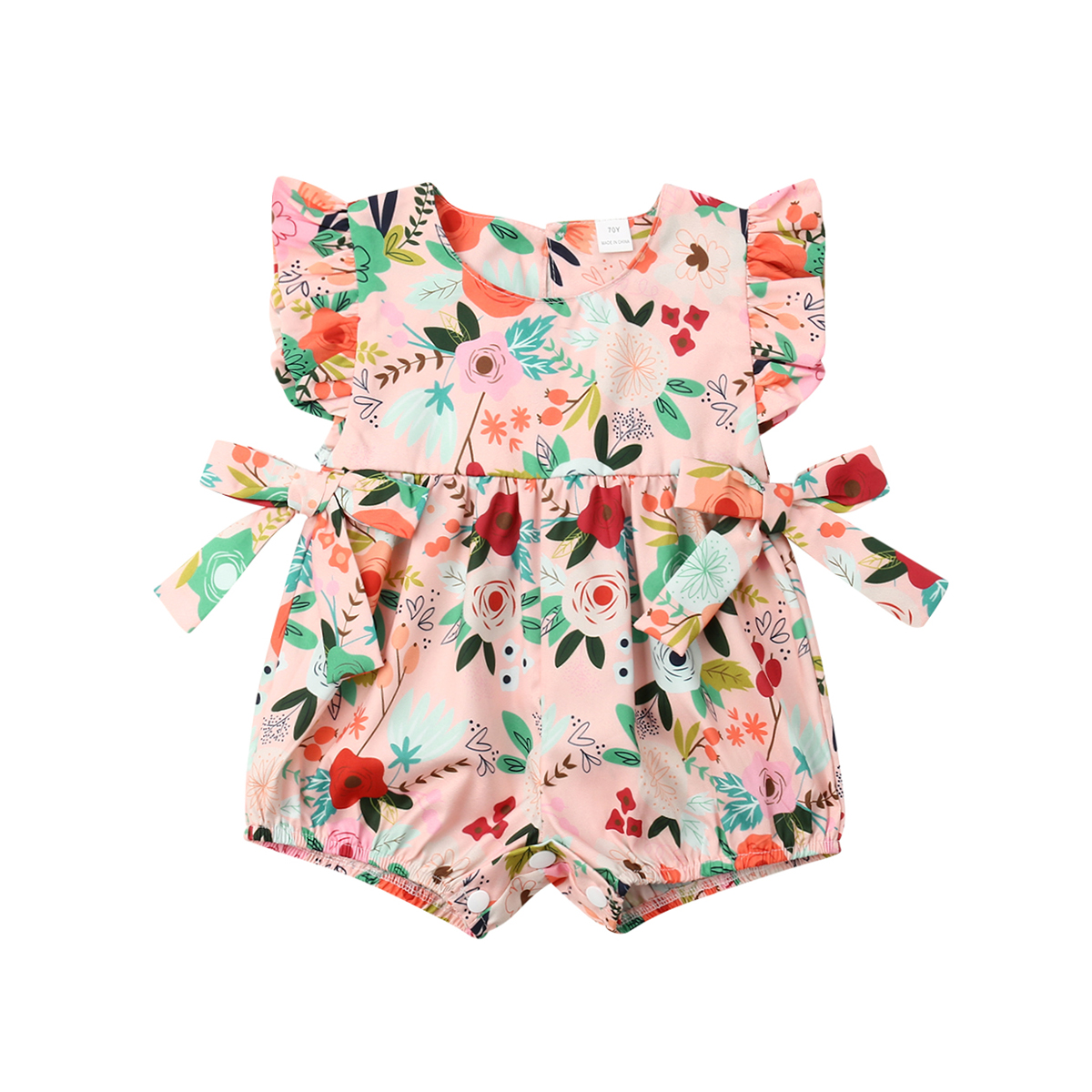 Bow Flower Infant Newborn Baby Girls Clothing Ruffles   Rompers   Baby Summer Jumpsuit Playsuit 2019 Baby Girl Costume