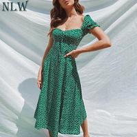 NLW пляжное богемное летнее 2019 женское платье винтажные вечерние элегантные женские платья миди с рюшами зеленые платья Vestidos