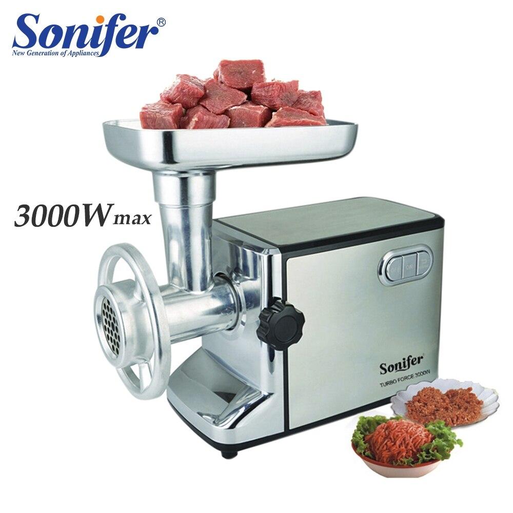 3000 W in acciaio inox A Casa a base di Carne Elettrico Grinder Salsiccia Stuffer Mincer Heavy Duty Domestica Tritacarne Sonifer