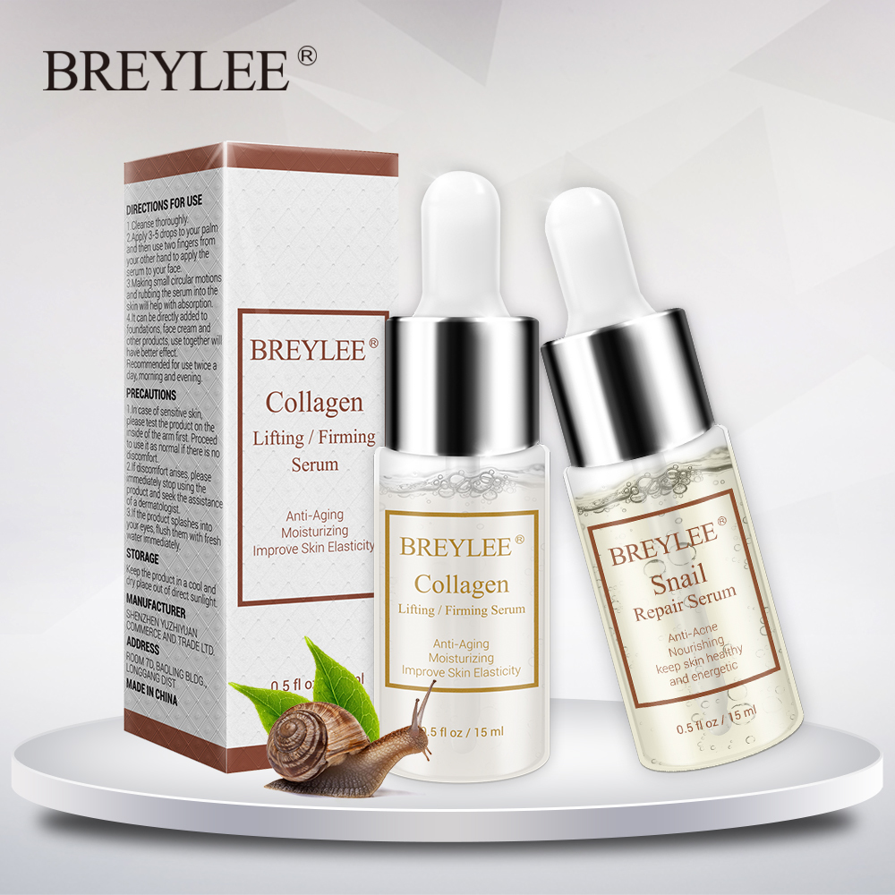 Breylee Collagen Serum Snail Serum Repairing Lifting Firming Essence Hyaluronic Acid Moisturizing Anti-aging Face Skin Care 1pcs