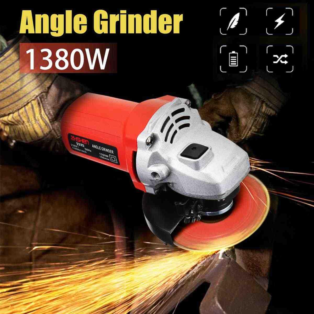 220 В/50 Гц 1380 Вт 11000р/мин угловая шлифовальная машина Электрический угол шлифовальный Металл для резки и шлифовки древесины мощность тоже
