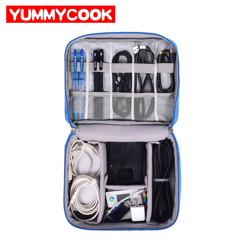 Cable de viaje bolsa portátil Digital USB Gadget cargador organizador cables cosmética cremallera bolsa de almacenamiento kit Accesorios