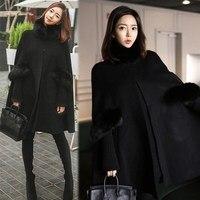 New Fashion Women's Winter Warm Woolen Hoodie Cloak Black/Red Fur Wool Cape Outerwear