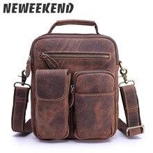 2017 Vintage Mens Genuine Leather Cowhide Shoulder Handbag Crossbody Business Messenger Sling Bag Briefcase Portfolio 3552
