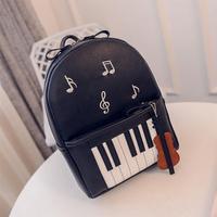2019 Cute Note Piano Printed Mini Backpack For Girls Teens High Quality Guitar PU Leather Female Women Bagpack Travel Satchel