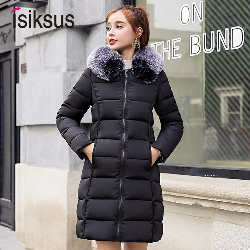 Isiksus Padded Warm Down Jackets Women Winter Plus Size Long Black Thick fur Hooded Coat Jacket