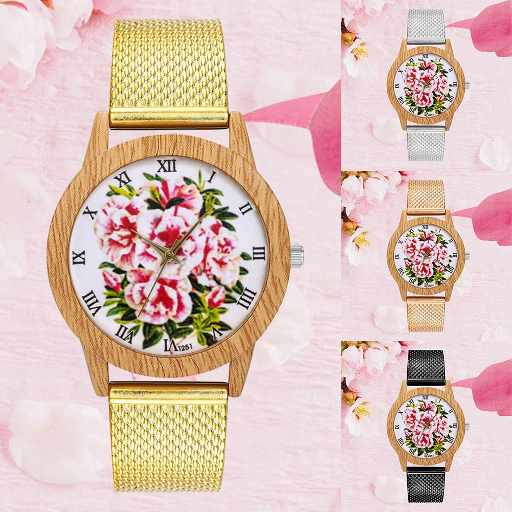 Zhoulianfa Fashion Mesh Strap Male Female Watch Flower Pattern Quartz Wristwatch Comfortable And Easy To Wear Watches