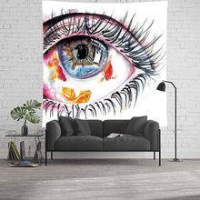 Eye Fish Abstract Art Tapestry Wall Hanging Hippie Boho Decor Wall Cloth Tapestries Home Decoration Curtain Carpet Beach Blanket ancient art eye tapestry wall hanging beach blanket