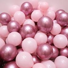 Ballons en Latex rose, à Air chromé, or, argent, or, Chrome métallique, décoration pour fête prénuptiale, 12 pièces/lot