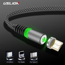 USLION 1 м светодиодный магнитный кабель usb type C кабель для iPhone Xs Max XR 8 7 6 Магнитный зарядный Micro USB кабель зарядный провод шнур USB C