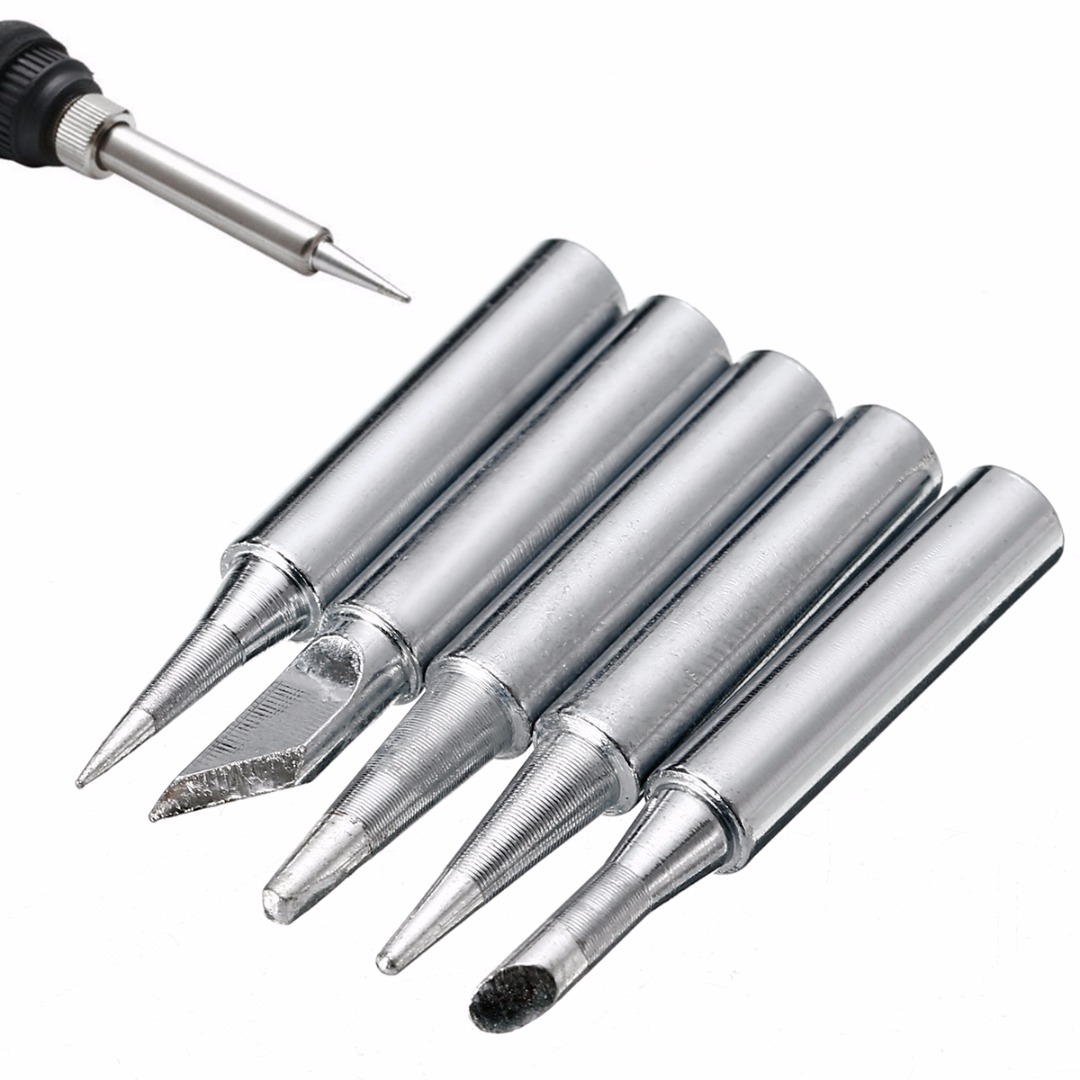 5pcs/set Lead-free 900M-T Metal Solder Soldering Iron Tips For Hakko Soldering Rework Station Repair Tools Set