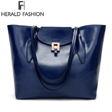 Herald Fashion Women Leather Handbags Shoulder Bag Large Capacity Handbag Causal Tote Bags Ladys Messenger Bolso